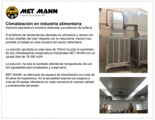 Conditionneurs d′air par évaporation de l′industrie alimentaire MET MANN