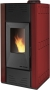 Hidro pellet stove for 130m2 steel red color - PELLET HIDRO 15